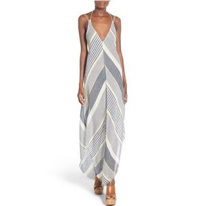 ASTR Ibiza Linen Cotton Stripe Strappy Maxi Dress